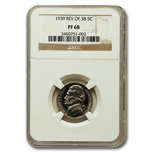 1939 Jefferson Nickel PF-68 NGC (Reverse of 38) Nickel PF-68 NGC (Mint Nickel Jefferson Ngc)