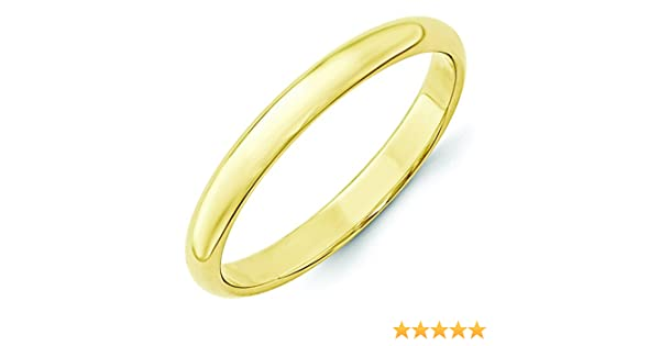 10K Yellow Gold 3mm Lightweight Half Round Domed Wedding Band