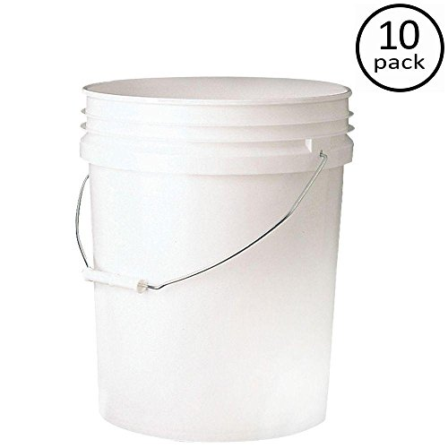 Leaktite Premium 5-gal. Pail Food Storage Container Bucket, Strong reinforced Ribs, Sturdy Wire Bail(10-Pack)