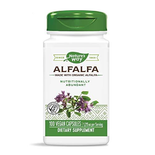 Natures Way Organic Alfalfa Young Harvest, Premium Formula, 405 mg, 100 Vegan Capsules