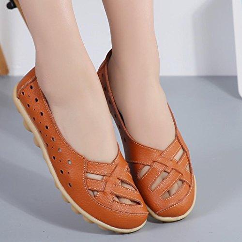 Amiley Vrouw Holle Casual Schoenen Erwten Drijfschoenen Comfortabele Platte Schoenen Lederen Veterschoenen Oranje