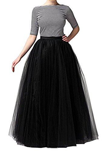 Floor Black Skirt Length (PROMLINK Floor Length Tulle Tutu Skirts High Waist Princess Party Dress,Black)