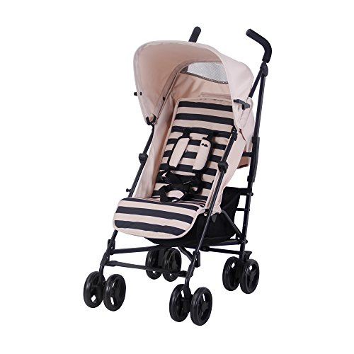 My Babiie US01 Sand Stripe Baby Stroller – Lightweight Baby Stroller with Carry Handle – Silver Frame and Sand Stripe – Lightweight Travel Stroller – Stylish Umbrella – Babies 6 Months – 33 lbs