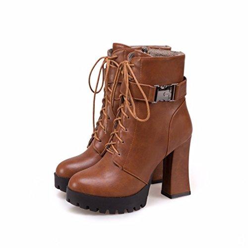 cremallera cortas al square botas lateral encajes de con Invierno brown frontal damas agua e resistente Otoño mesa ZzCqRR