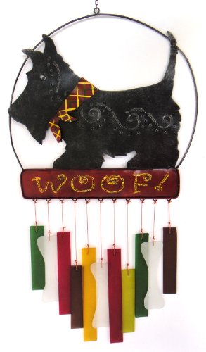 Blue Handworks Glass Wind Chime, Angus Scottie Dog (Terrier Scottish Wind Chimes)