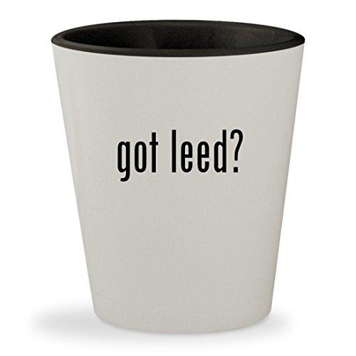 got leed? - White Outer & Black Inner Ceramic 1.5oz Shot Gla