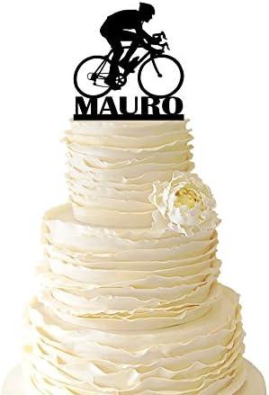 Decoración para tarta de carreras de carretera, personalizable con tu nombre, de acrílico o abedul báltico para eventos especiales 053: Amazon.es: Hogar