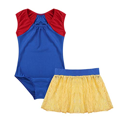 Freebily Snow Princess Inspired Ballet Dance Gymnastics Leotard with Floral Lace Skirt Outfit Fairytale Dancewear Blue&Yellow -