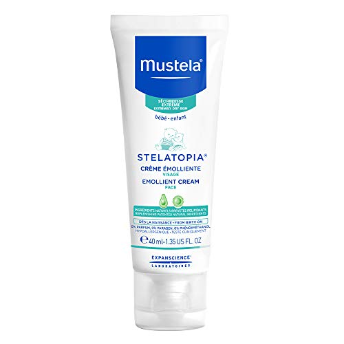 Mustela Stelatopia Emollient Face Cream, for Eczema-Prone Baby Skin, Fragrance-Free, with Natural Avocado Perseose and Ceramides, 1.35 Ounce