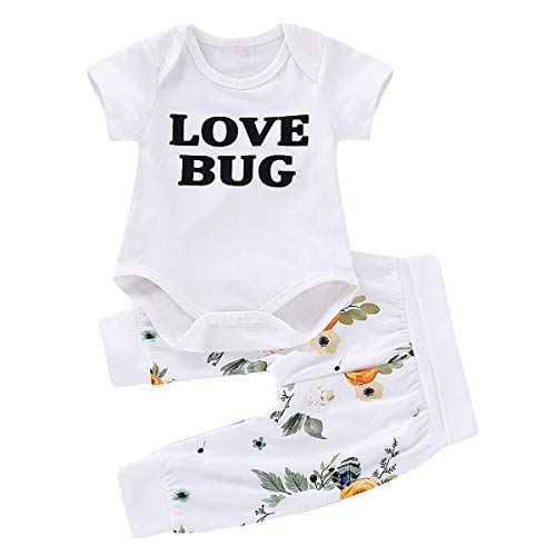 puseky 2pcs/Set Infant Newborn Baby Short Sleeve Clothes Love Bug Print Rompers+Pants Outfits Sets White