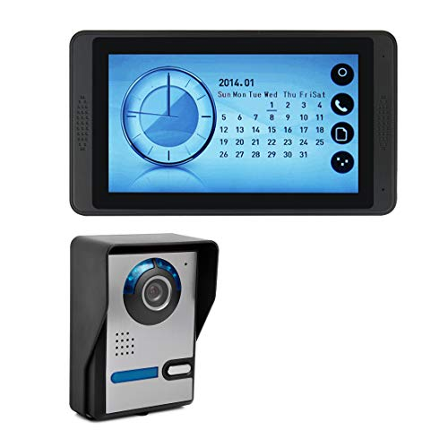 7 Inch Video Doorbell Intercom Wired Door Phone Kit Visual Entry System Outdoor Camera Support Unlock Infrared Night View Rainproof,Video, Photo, with Clock Display (16 Chord Sounds Available)