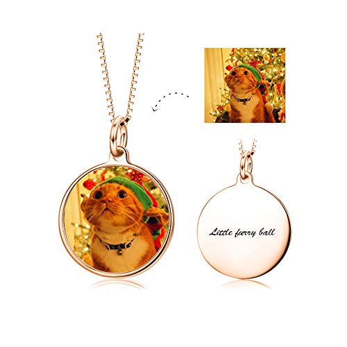 Sterling Frame Photo Square Silver (LONAGO Full Color Photo Personalized 925 Sterling Silver Necklace Custom Pet Cat Dog Family Mother Baby Picture Round Square Shape Pendant (Round/Rose-Gold-Plated-Silver))