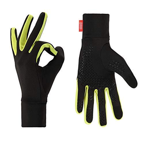 Aegend Lightweight Winter Warm Gloves Mittens Liners Women Men Sports, Running, Cycling, Driving, Riding Non-Slip Palms with Touch Screen and Grippy Palm In Early Spring Or Fall, Black & Green, Medium