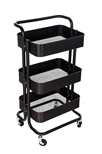 M.S.Premium 3 Tier Rolling Metal Shelving Utility Storage Cart with Wheels, Organizer Trolley (Black)