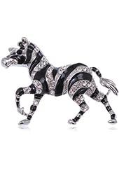 African Safari Zebra Horse Blk Enamel Clear Crystal Rhinestone Animal Pin Brooch