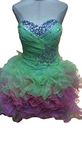Green Crystals Homecoming DKBridal Short Dress Women's Sequins Gradient Dress Party 1TSqSzBn