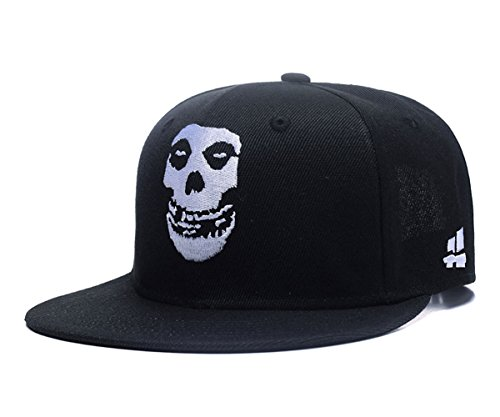 Quanhaigou White Skull Skeleton Face Embroidery Snapback Hat, Men's Adjustable Flat Bill Baseball Cap Black ()