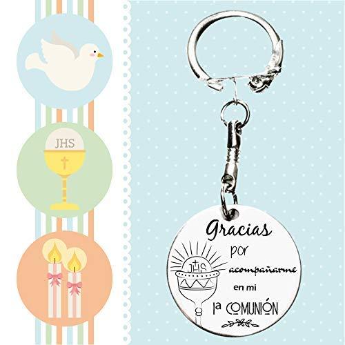 Pack de 5 llaveros regalo para invitados de Primera Comunión con grabado láser - Recuerdo de comunión para invitados