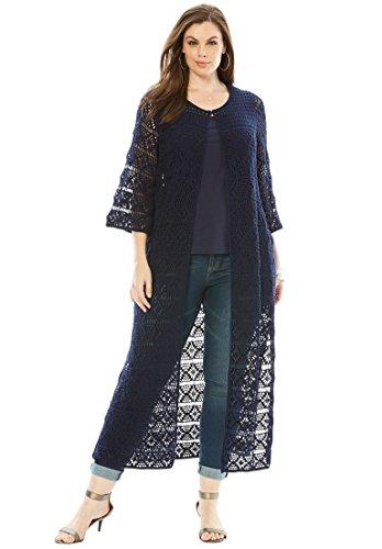 Size Designer Collection Bell Sleeve Crochet Cardigan ()