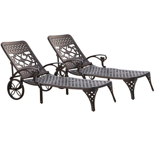 Home Styles Biscayne Chaise Lounge Chair, Black by Home Styles