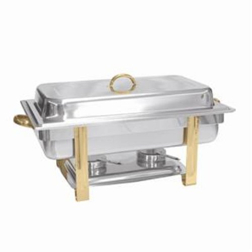 CHAFER 8 QUART GOLD ACCENTED OBLONG BANQUET BUFFET & CATERING