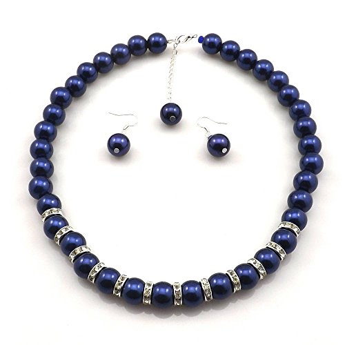 Large Faux Blue Pearl Necklace and earring set By Millennium Design - Blue Pearl Quartz
