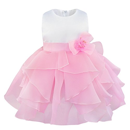 YiZYiF Baby Girls Flower Christening Wedding Birthday Ruffle Organza Tutu Dress Pink 18-24 Months (Toddler Fancy Dress)