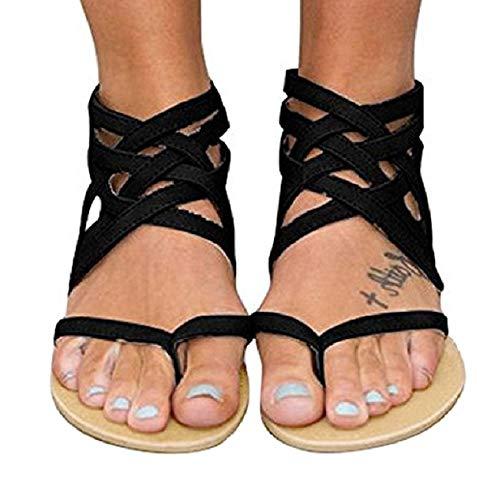 Blivener Women's Casual Gladiator Sandals Summer Zipper Strappy Thong Flats Shoes BLACK42