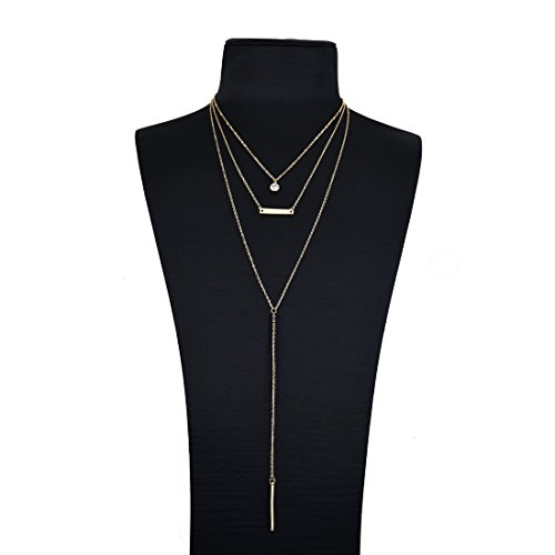 Monily Y Lariat Layering Choker Necklace Disc Bar Pendant With Beads Chain Drop Woman Jewellery
