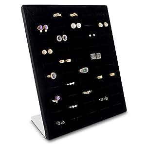 Grinscard - Expositor de joyas para 50 anillos y pendientes Organizador para almacenamiento de joyas y presentación - 26 x 20 x 9 cm - negro