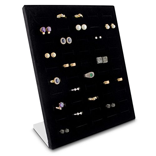 VENKON - Schmuckdisplay für 50 Ringe & Ohrringe Organizer für Schmuck Aufbewahrung & Präsentation - 26 x 20 x 9 cm - schwarz
