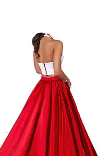 Dresses Evening Sleeveless Piece Halter Formal Women's Backless Chupeng Purple Prom Two Neck qtv1xnzwC