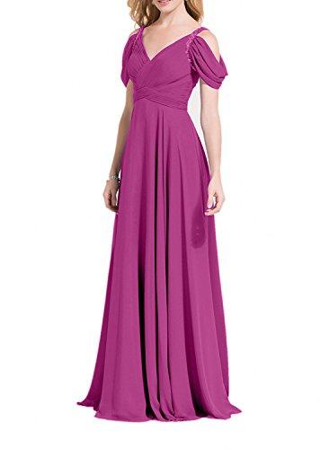 Dunkel Lang Ausschnitt Linie Charmant Fuchsia Abendkleider Partykleider Damen Abschlussballkleider V Chiffon Grau A 5Ix6zSx