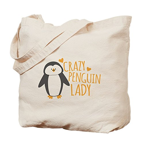 CafePress - Crazy Penguin Lady - Natural Canvas Tote Bag, Cloth Shopping Bag