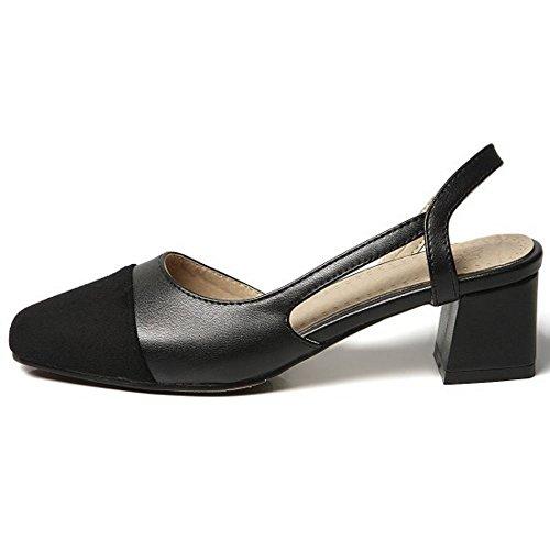 Tacones Dulce Tamano Pumps Medio 38 Block Zapatos de Zanpa Tacon Mujer Slingback Black zxwaqnZWgU
