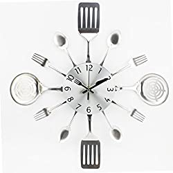 Bobury 3D Removable Modern Cutlery Kitchen Spoon Fork Wall Clock Mirror Wall Decal