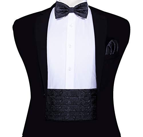 Mens Cummerbund Bow Tie Set, Silk Cummerbund Pretied Bow Tie Hankerchief Cufflinks ()