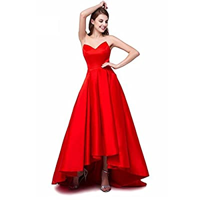 High Low Strapless Cocktail Dresses A Line Satin V Neck Formal Prom Party Gown