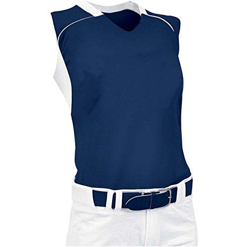ChamproレディースノースリーブレーサーバックSoftball Jersey B00JARBHFQ X-Large|ネイビー/ホワイト ネイビー/ホワイト X-Large