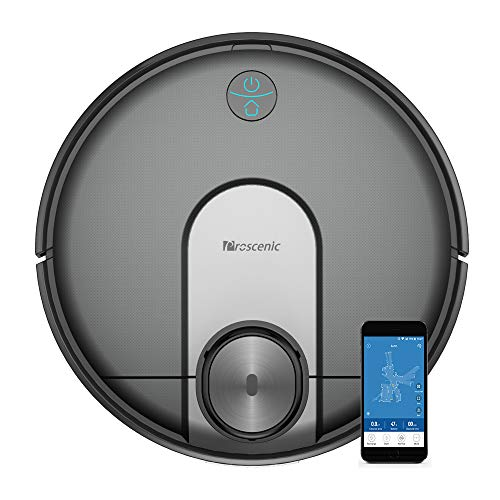Proscenic M7 Robot Vacuum Cleaner, Laser Navigation, App & Alexa, 2600 Pa Powerful Suction, Carpet Boost, Electronically-Controlled Water Tank for Carpet & Hard Floors, Black