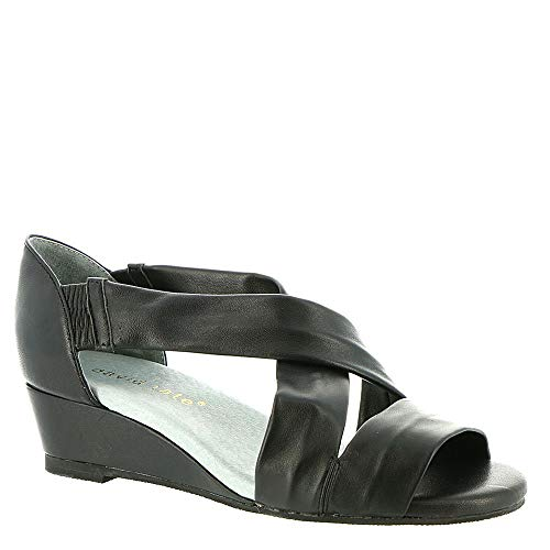 David Tate Womens Slide - David Tate Womens Swell Leather Open Toe Casual Slide Sandals, Black, Size 7.0