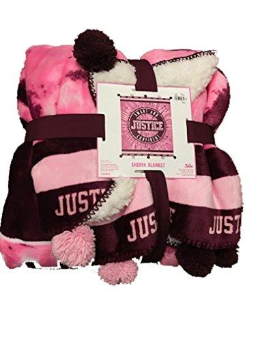 Justice Girls Logo Tie Dye Sherpa Pompom Blanket Pink Tie Dye