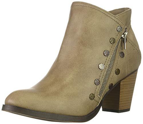 (Rampage Edyn Womens Casual Block Heel Side Zipper Studded Ankle Bootie Boot, Light Taupe Nubuck, 8.5 M US)