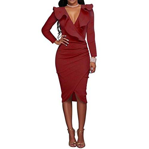 746d8601b335 hibote Frauen Vintage V-Ausschnitt Rüschen enge Wrap Club Midi Party,  figurbetontes Kleid Weinrot
