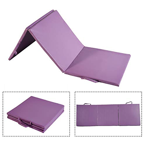 DOIT 3 Fold Thick Gymnastic Mat Surface PU Cortex Handles Zipper Yoga Martial Arts General Exercise Purple by DOIT