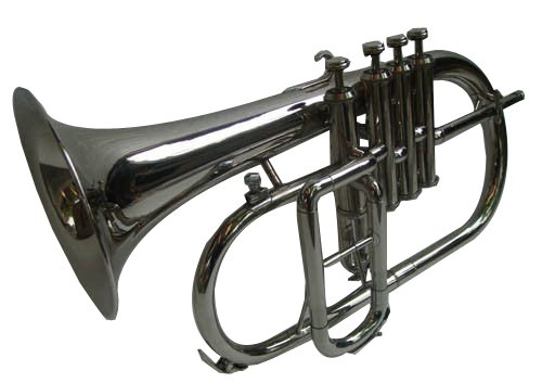 Queen Brass Flugelhorn 4Valve Brass Finish W/Case Mp Fluglehorn Bronze