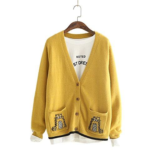 ロング カーディガン セーター レディース 刺繍 かわいい グラデーション Vネック ロング トッパー ニット カットソー 長袖 ゆとり 学院風
