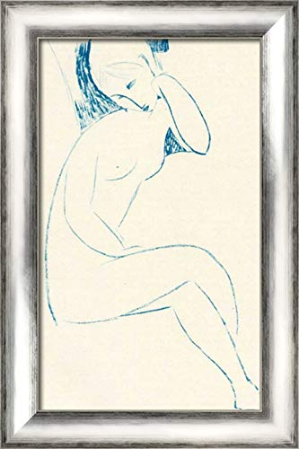 Seated Nude 16x24 Silver Contemporary Wood Framed Canvas Art by Modigliani, Amedeo