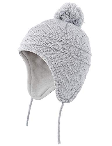 Connectyle Girls Boys Kids Knit Kids Hat Fleece Lined Beanie Skull Cap with Earflap Warm Winter Beanies Cap Grey