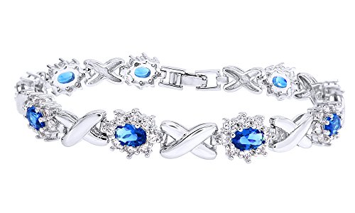 Jewel Zone US Simulated Blue Sapphire and Cubic Zirconia Link Womens XO Bracelet in White Gold Over Brass -8.5